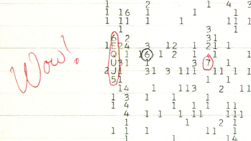 "10. The Wow! Signal: The Wow! signal was a strong narrowband radio signal detected by Jerry R. Ehman on August 15, 1977, while he was working on a SETI project at the Big Ear radio telescope of The Ohio State University, then located at Ohio Wesleyan University's Perkins Observatory in Delaware, Ohio. The signal bore the expected hallmarks of non-terrestrial and non-Solar System origin. It lasted for the full 72-second window that Big Ear was able to observe it, but has not been detected again. The signal has been the subject of significant media attention. Amazed at how closely the signal matched the expected signature of an interstellar signal in the antenna used, Ehman circled the signal on the computer printout and wrote the comment ""Wow!"" on its side. This comment became the name of the signal."