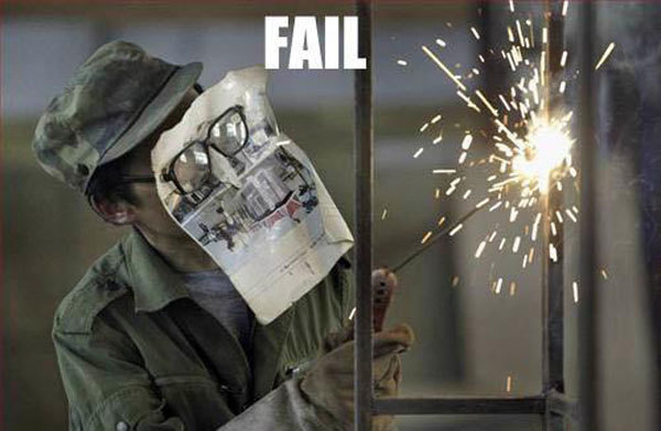 9.) A magazine page does not a welder's mask make.