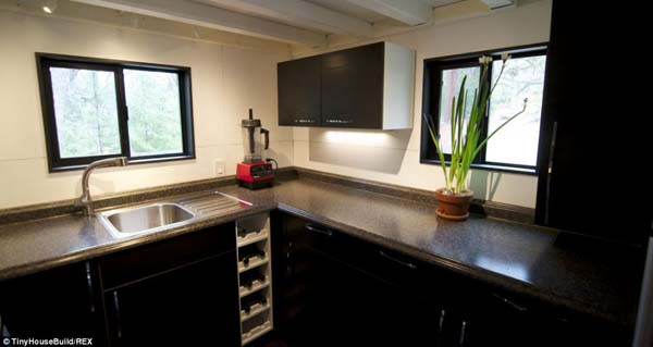 They don't have to skip on amenities, as there is a full kitchen in the small home.