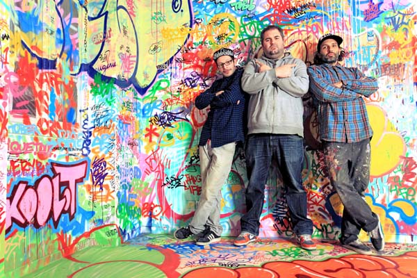 Tilt and his two friends spent hours covering the one side of the room in their style of art.