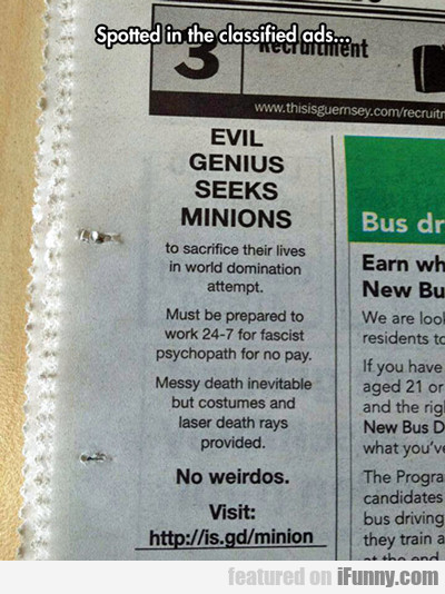 Spotted In The Classified Ads...