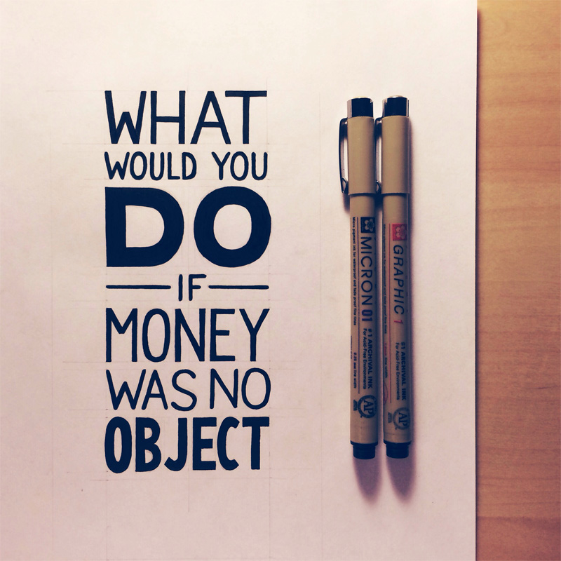 22) What Would You Do If Money Was No Object.