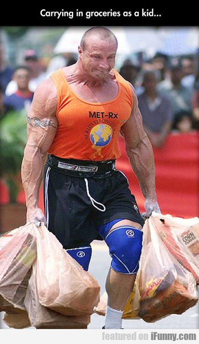 Carrying In Groceries As A Kid...