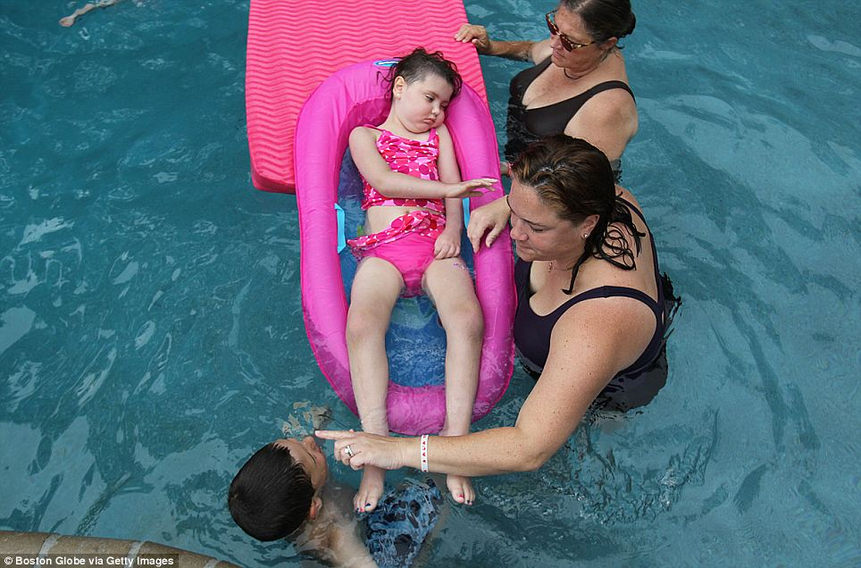 Only days before she passed, Calle got to enjoy the pool that was built specially for her, even though she could barely move at that point.