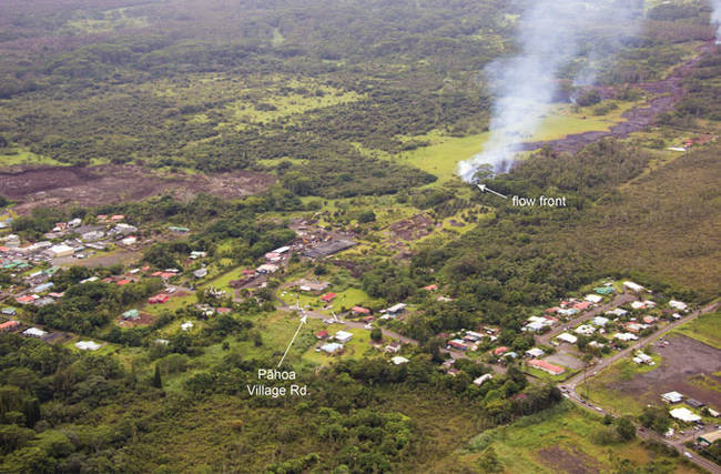 As of Monday (10/27), the flow was heading toward the Pahoa Village Rd. near the town's post office.