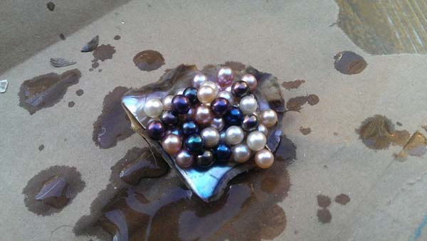At the end of it all, she ended up with about 54 pearls in 5 different colors.
