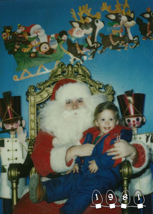 As children, these two brothers were taken to a mall Santa to get their picture taken.