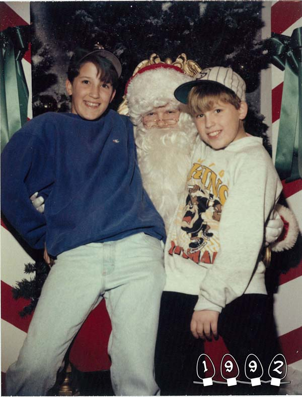 Year after year, the boys visited Santa.