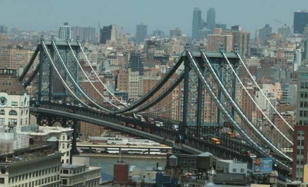 The bridge is an iconic architectural feature in Brooklyn.