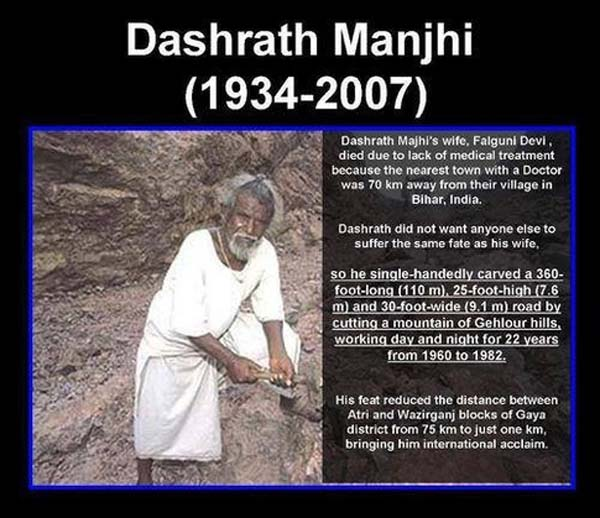 The government refused to help, so Dashrath took it upon himself to make the road for his village.