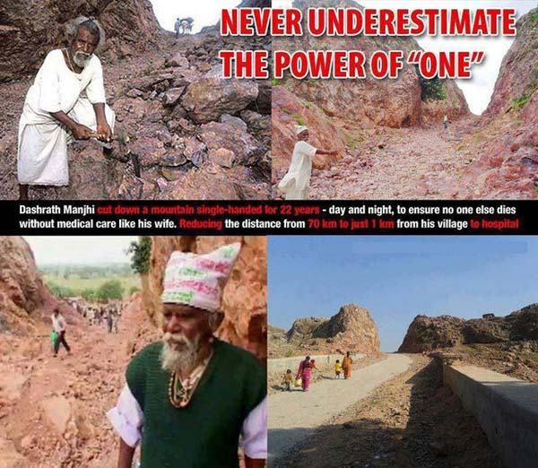 Dashrath Manjhi spent two decades chipping away at a mountain, just to make a road for his village.
