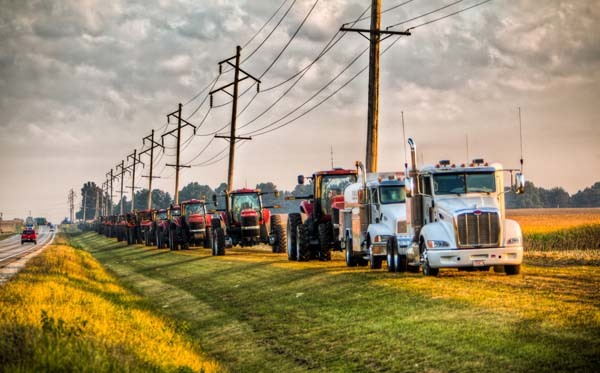 It was also telling to see every tractor, some of which may cost upwards of $400,000 was left with keys in the ignition.  There was over $20 million dollars along that road and not one farmer spent a second worrying about where his tractor would be the next day.