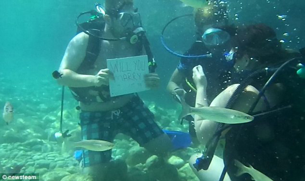 The couple were scuba diving off of the coast of Turkey when Anthony decided to pop the question.