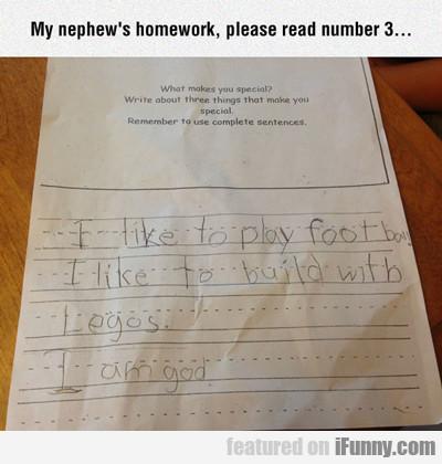 My Nephew's Homework...