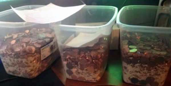 2.) When making her divorce payment, this wife submitted it on time. Entirely in pennies.