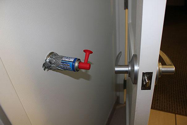 2.) Keep roommates on their toes with an airhorn door stopper