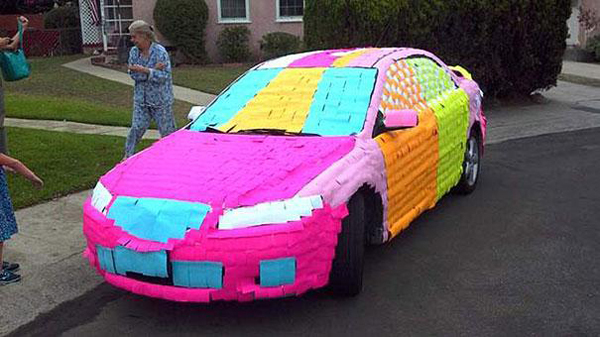 19.) Give a friend's car a new, bright paint job with Post-Its