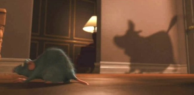"""Dug from """"Up"""" makes a shadowy appearance in """"Ratatouille""""."""