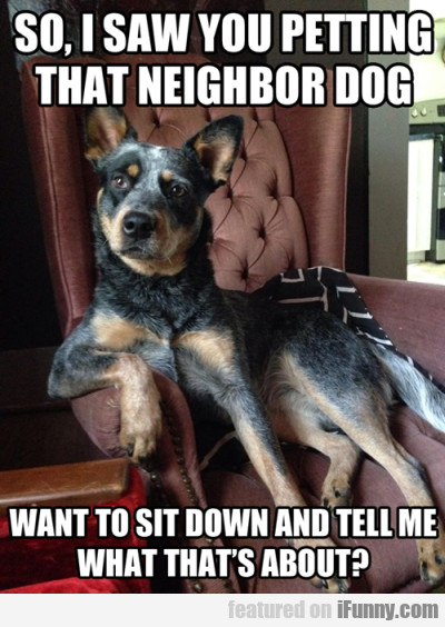 So, I Saw You Petting That Neighbor Dog. Want To..