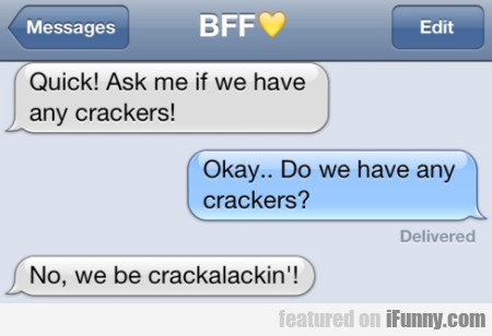Quick! Ask Me If We Have Any Crackers!