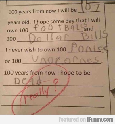 100 Years From Now I Will Be 107...