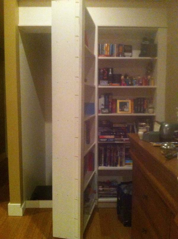 Except when the new owners' two songs were horsing around and dislodged a bookshelf...