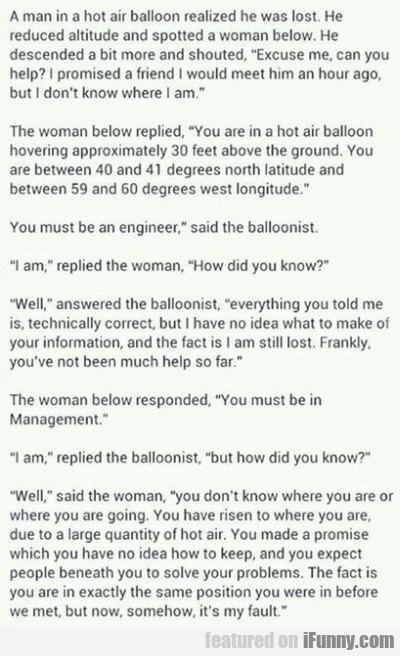 A Man In A Hot Air Balloon Realized That He Was...