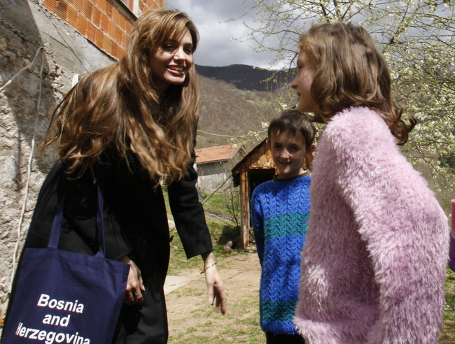 "Angelina Jolie was troubled by what she saw at a Bosnian refugee camp and started a donation drive to provide permanent housing for the people still displaced by the Bosnian War. Out of gratitude, the refugees have named the new apartment building ""Villa Angelina"""