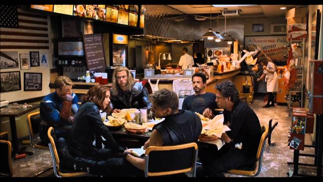 """The button at the end of the Avengers showing the heroes eating shawarma actually sent US shawarma sales <a href=""""http://eatocracy.cnn.com/2012/05/18/the-lunch-of-heroes-the-avengers-sparks-interest-in-shawarma/?hpt=ea_bn2"""">through the roof.</a> It was obviously not their intention."""