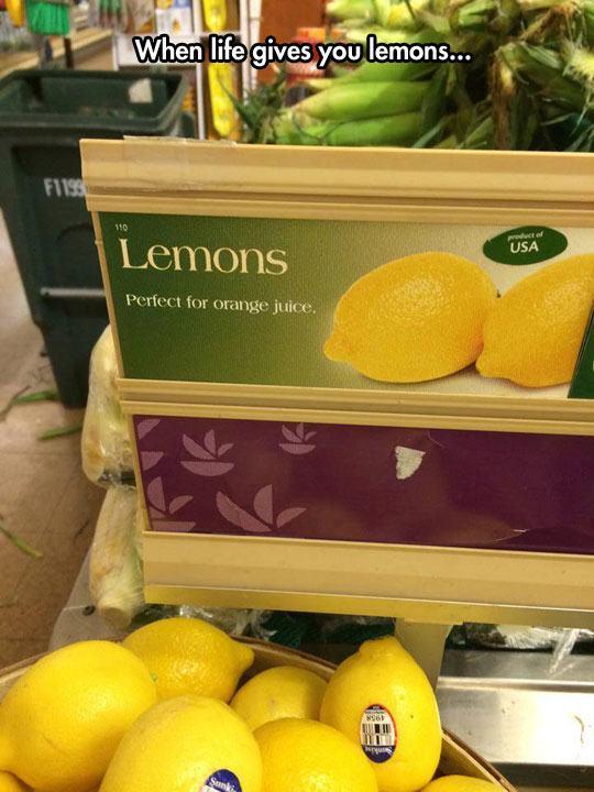 8.) When life gives you lemons...make orange juice?