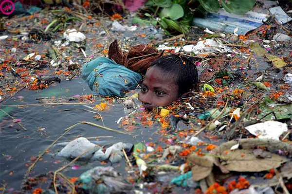 But even on an individual level, humans constantly pollute the river with their trash and waste.