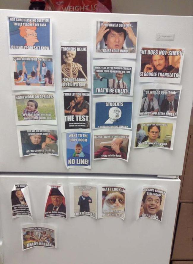 10.) Secret stash of memes in the teachers' lounge.