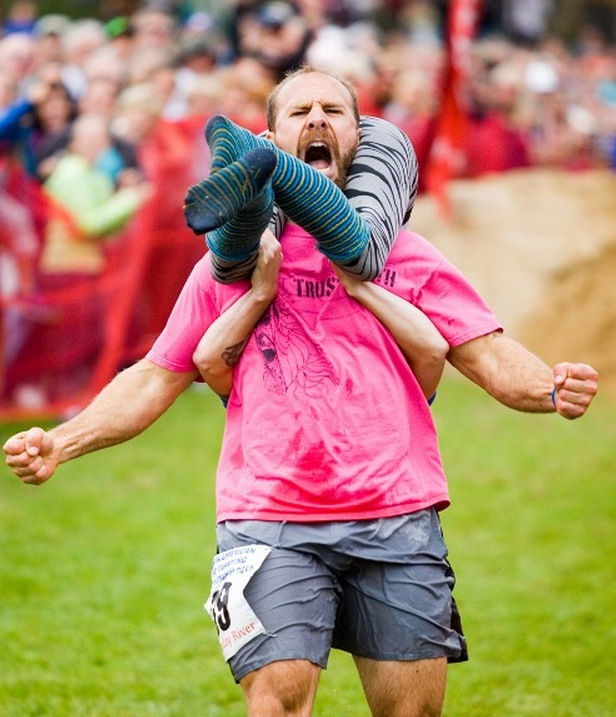 3.) Wife carrying: The man who carries his wife through the obstacles the fastest gets the lady's weight in beer. Grown-ass men only, please.